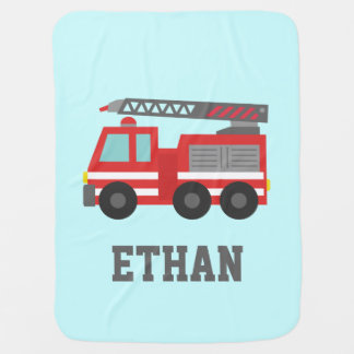 Cute Red Fire Truck for Little Fire fighters Baby Blanket