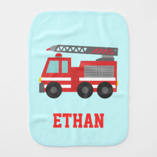 Cute Red Fire Truck for Little Fire fighters Burp Cloths