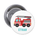 Cute Red Fire Truck for Little Fire fighters 2 Inch Round Button