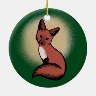 Cute Red Fox Ceramic Ornament