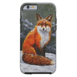Cute Red Fox in Falling Snow Tough iPhone 6 Case