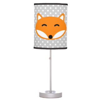Cute red fox kids lamp with grey white polka dots