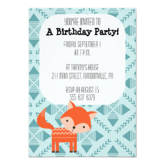 Cute Red Fox Party Invitation