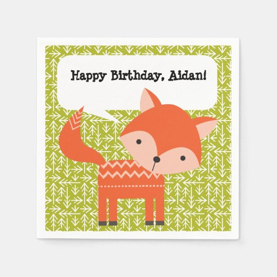 Cute Red Fox Personalized Party Napkins Disposable Napkins