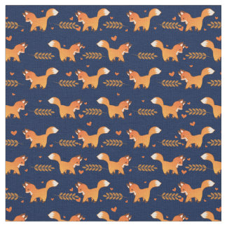Cute Red Fox with Hearts and Laurel Branches Fabric