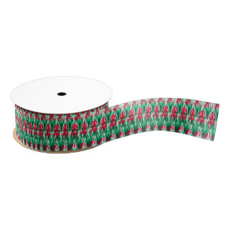 Cute red green abstract aztec pattern grosgrain ribbon