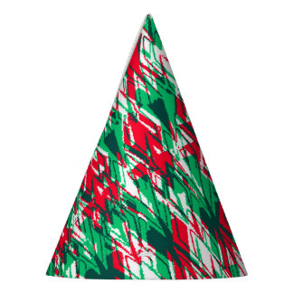 Cute red green abstract aztec pattern party hat