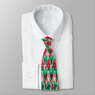 Cute red green abstract aztec pattern tie