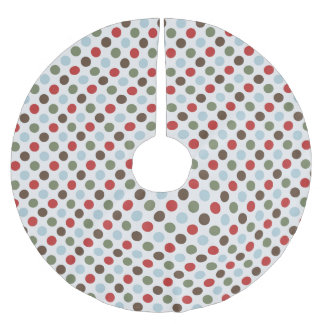 Cute Red, Green, and Blue Christmas Polka Dots Brushed Polyester Tree Skirt