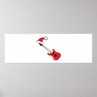 Cute Red Guitar Santa Hat Mouse Pad Clock Pillows Print