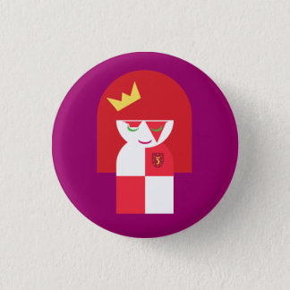 Cute Red Head Warrior Queen Dressed For Battle 1 Inch Round Button
