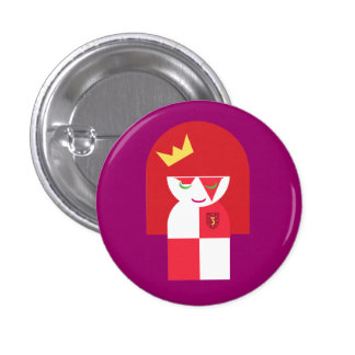 Cute Red Head Warrior Queen Dressed For Battle 1 Inch Round Button
