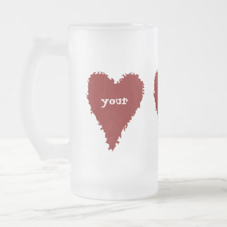 Cute red heart frosted mug for Valentines day