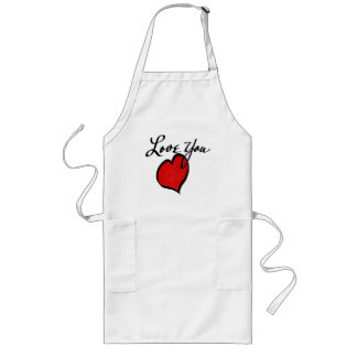 Cute Red Heart Love You Happy Valentine's Day Long Apron