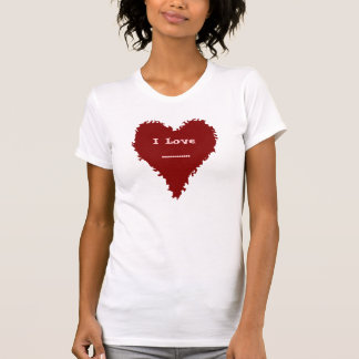 Cute red heart on red ladies T shirt for your text