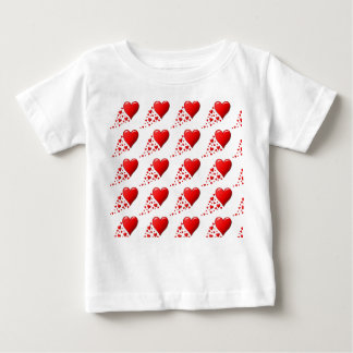 CUTE RED HEARTS Baby Fine Jersey T-Shirt, White Baby T-Shirt