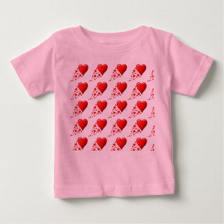 CUTE RED HEARTS Baby  Jersey , White Baby T-SHIRT