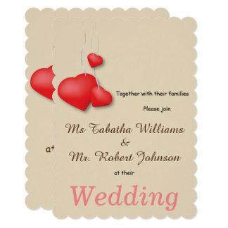 Cute Red Hearts Design Wedding Invitation