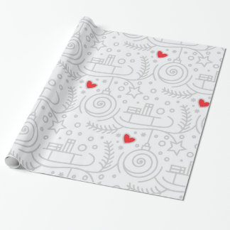 Cute Red Hearts Whimsical Christmas Holiday Wrapping Paper