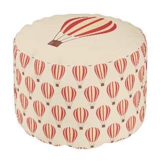 Cute Red Hot Air Balloons Pouf