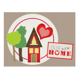 Cute Red House Scrapbooking Style Address Change Postcard