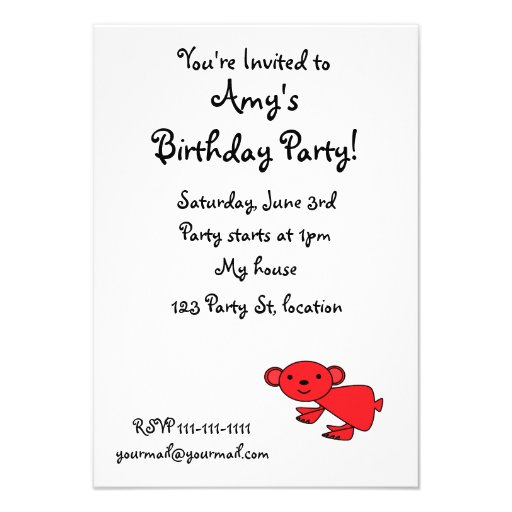 Cute red koala invite