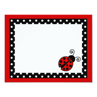 Cute Red Ladybug Flat Thank You Note Cards