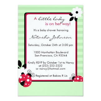 Cute Red Ladybug Mint Green Baby Shower Invites