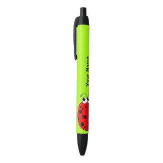 Cute Red Ladybug on Green Personalized Black Ink Pen