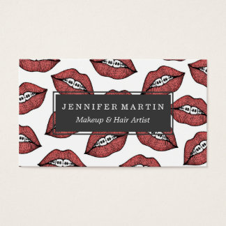 Cute Red Lips and Braces Hand Drawn Illustration Business Card