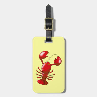 Cute red lobster luggage tag