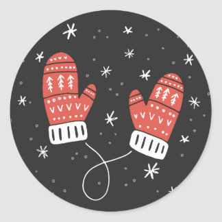 Cute Red Mittens Holiday Sticker