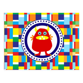 Cute Red Monster on Colorful Patchwork Blocks Postcard