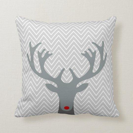 Cute Red Nose Reindeer Chevron Pattern Throw Pillow