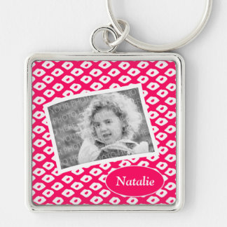 Cute Red Ocelot Pattern Custom Photo Keyring Silver-Colored Square Keychain
