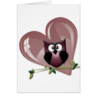 Cute Red Owl and Heart Gifts Card