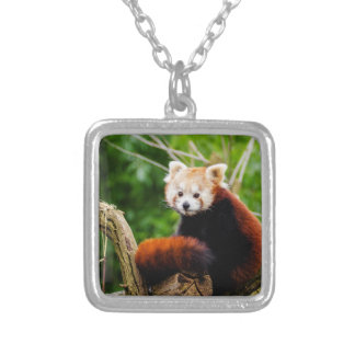 Cute Red Panda Bear Silver Plated Necklace