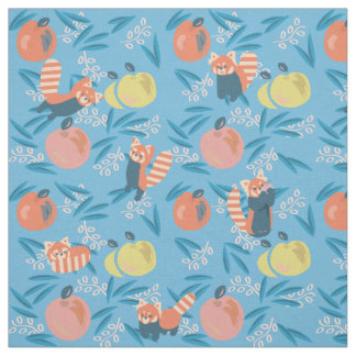 Cute 'Red Panda' Blue Apple Pattern Fabric