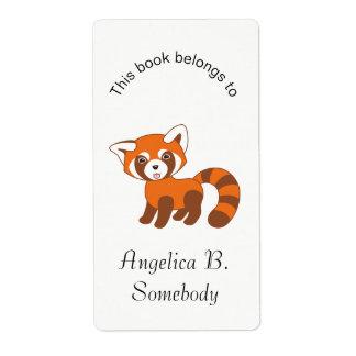Cute Red Panda Bookplate