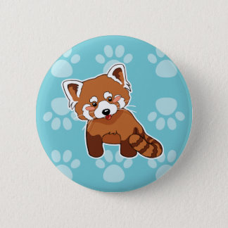 Cute Red Panda on Blue Paw Prints Pattern 2 Inch Round Button