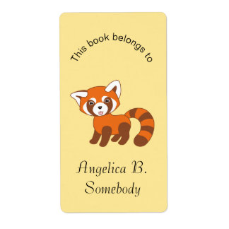 Cute Red Panda on Yellow Bookplate