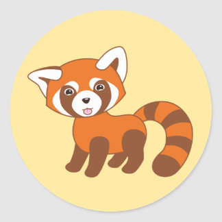 Cute Red Panda on Yellow Classic Round Sticker