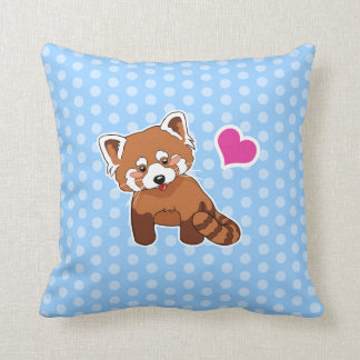 Cute Red Panda With Pink Heart On Polka Dots Throw Pillow