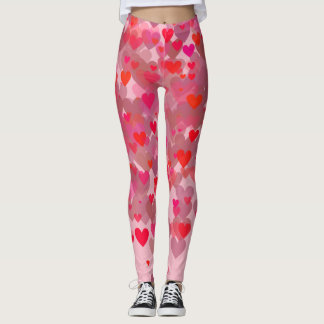 Cute Red & Pink Bokeh Hearts Leggings