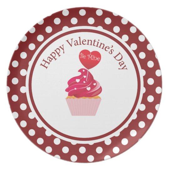 Cute red polka dot Cupcake valentine's day Plate