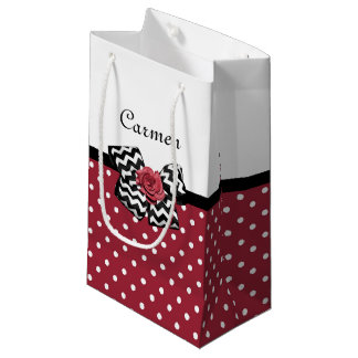 Cute Red Polka Dots With Chevron Rose Bow and Name Small Gift Bag