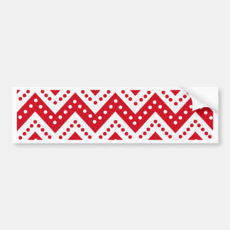 Cute Red Polkadot Zigzags Bumper Sticker