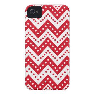 Cute Red Polkadot Zigzags iPhone 4 Case