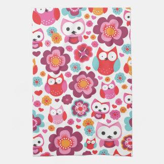 Cute red retro bird owl love pattern kitchen towel
