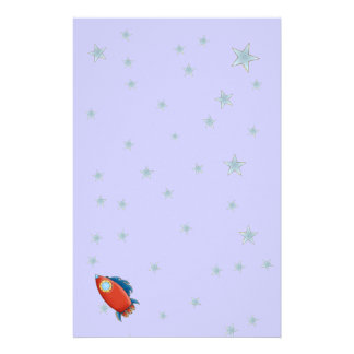 Cute Red Rocket & Stars Stationery